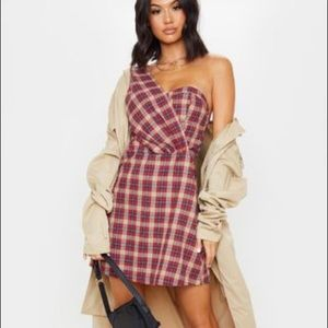 One Shoulder Red Plaid Dress NWT